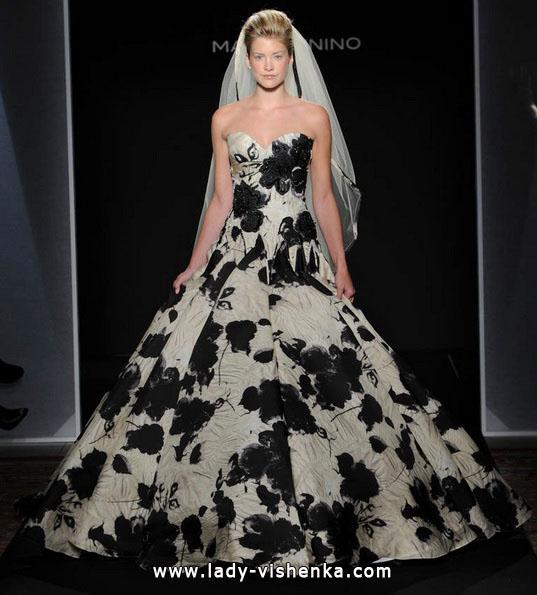 Hochzeits-Kleid mit schwarzen Blumen - Mark Zunino