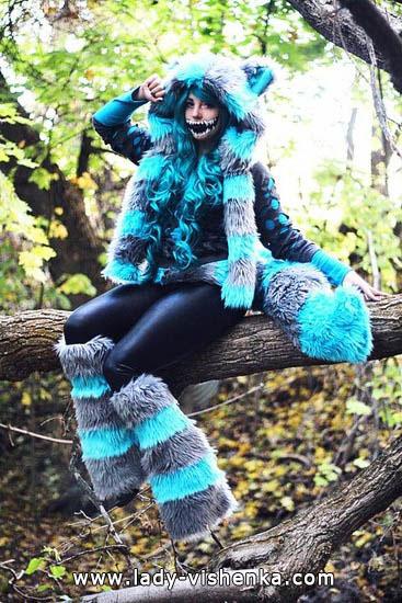 Sexy Kostüm чеширской Katze auf Halloween