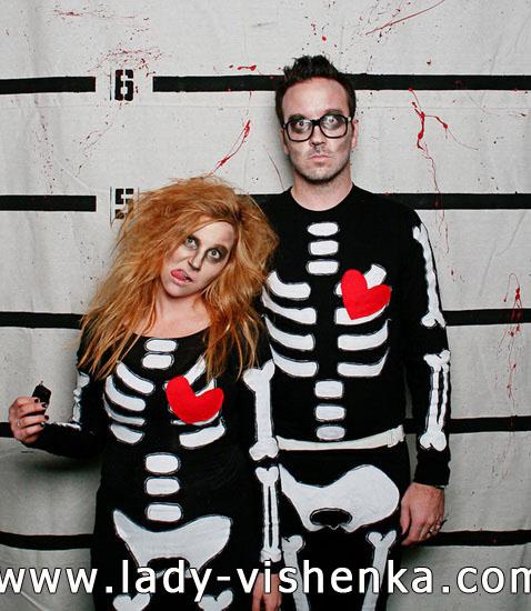 Skelett - Kostüm für Paare Halloween