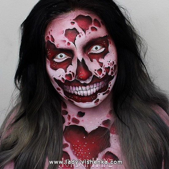 Blutige make-up an Halloween