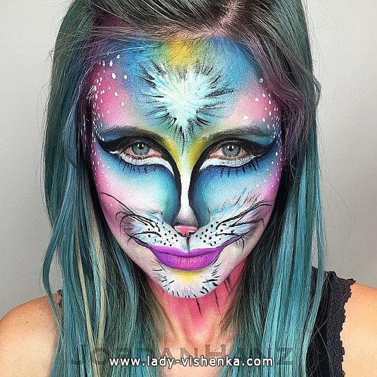 make-up für Halloween - farbige Katze