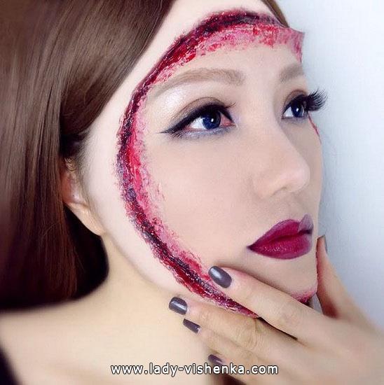 Schnitte im Gesicht - make-up für Halloween