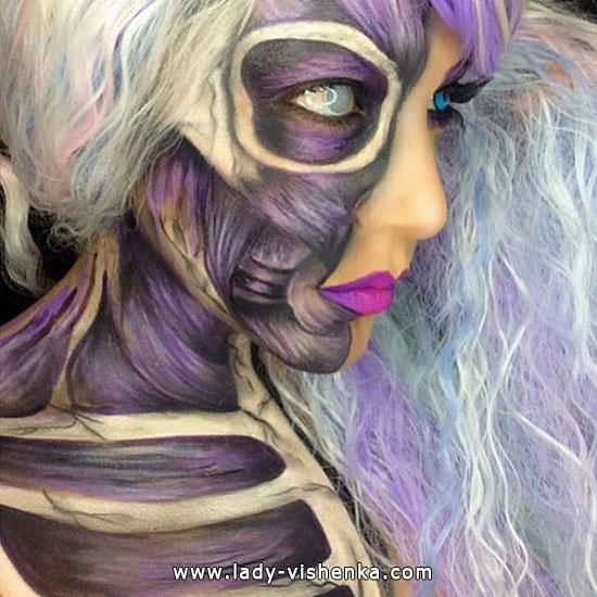 Körper ohne Haut - make-up für Halloween
