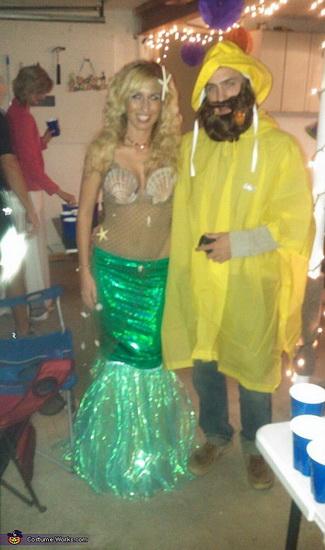 die kleine Meerjungfrau und Fischer auf Halloween