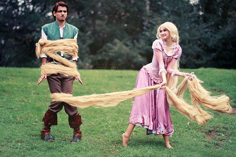 Foto - Rapunzel und Flynn auf Halloween