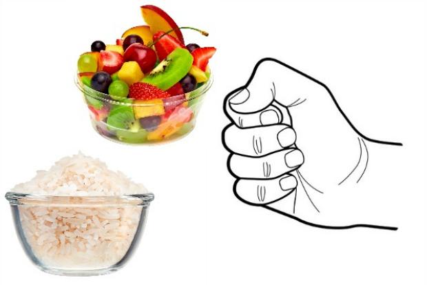die Größe der portion bei der richtigen Ernährung