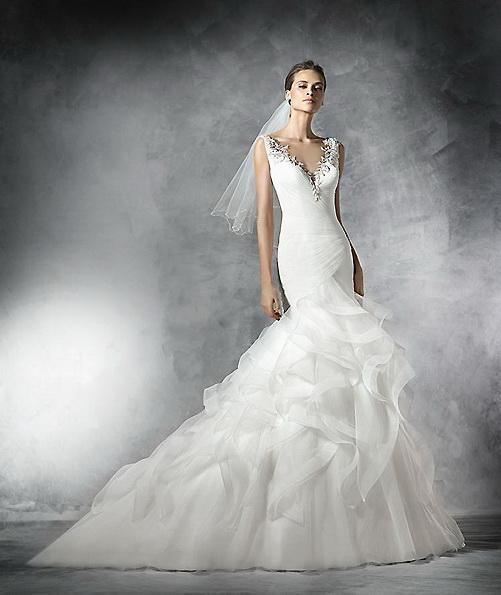 Hochzeitskleid aus Satin - Fisch - Pronovias