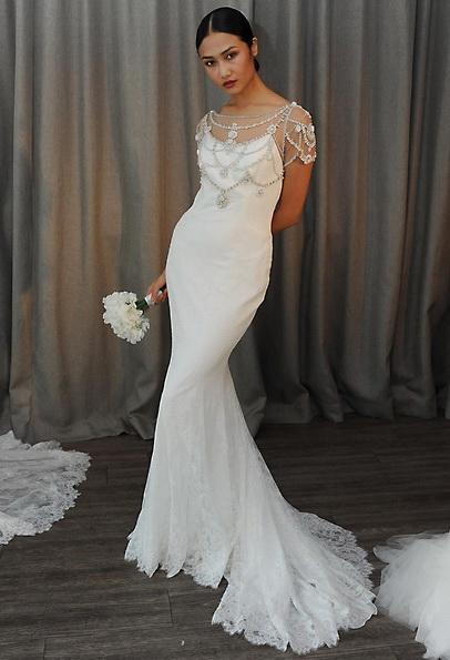 Satin-Hochzeitskleid - Meerjungfrau - Badgley Mischka