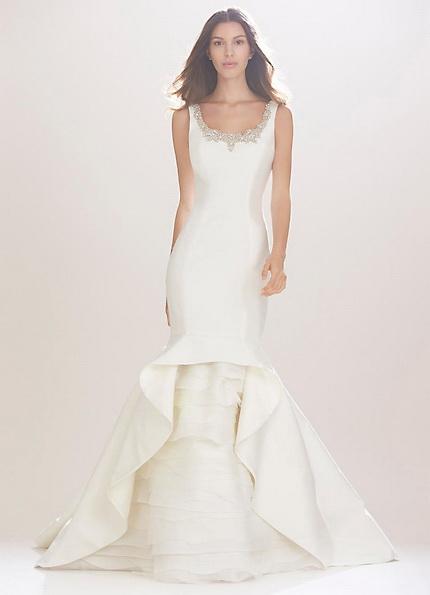 Satin-Hochzeits-Kleid - Fischschwanz - Carolina Herrera