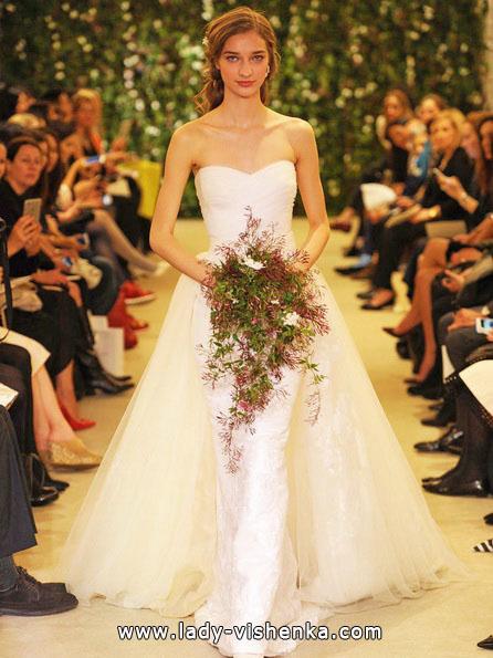 Einfache weiße Hochzeit Kleid Carolina Herrera