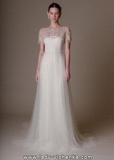 Einfache Hochzeitskleid mit geschlossenen Schultern 2016 - Marchesa