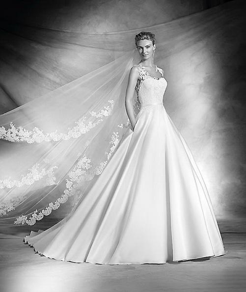 Hochzeits-Kleid mit Satinrock Pronovias - Frühling 2016