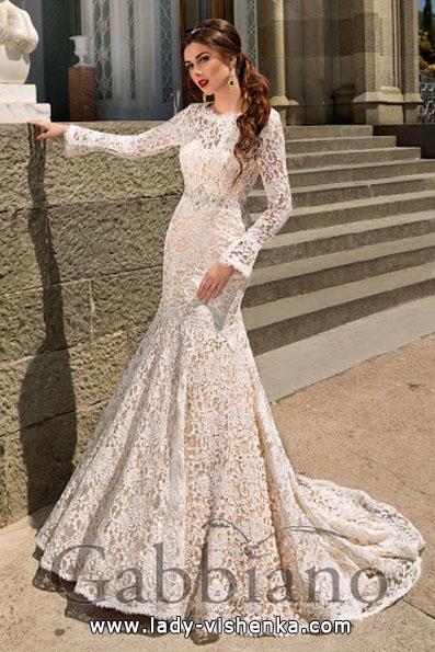 Lace-Hochzeit-Kleider mit langen ärmeln - Gabbiano
