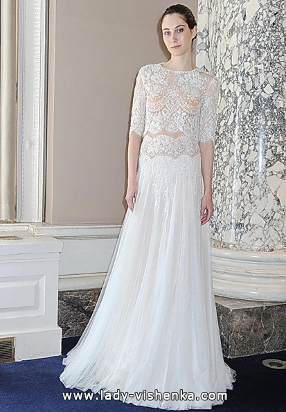 Brautkleider mit Spitzen ärmeln Foto - Christos Costarellos